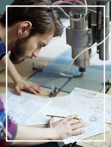 Engineer sketching